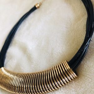Black And Gold Necklace With Gold Adjustable Chain
